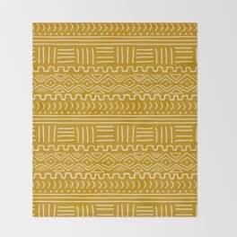 Mud Cloth on Mustard Throw Blanket