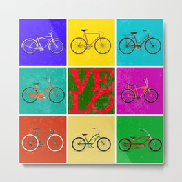 Velo Love – 8 Bikes PoP - June 12th – 200th Birthday of the Bicycle Metal Print