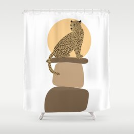 Leopard on the rocks Shower Curtain