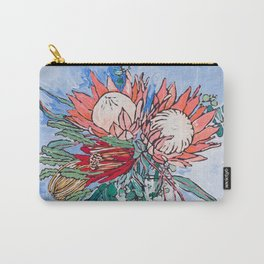 Painterly Vase of Proteas, Wattles, Banksias and Eucayptus on Blue Carry-All Pouch