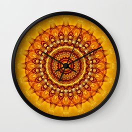 Mandala bright yellow Wall Clock