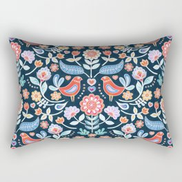 Happy Folk Summer Floral on Navy Rectangular Pillow