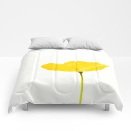 Yellow Poppy White Background #decor #society6 #buyart Comforters