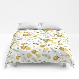 Tangerines, spices and branches of tree Comforters