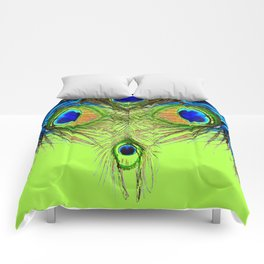CHARTREUSE BLUE-GREEN PEACOCK FEATHERS ART PATTERNS Comforters