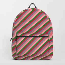 Crimson, Light Slate Gray, Light Coral, Light Pink, and Forest Green Colored Pattern of Stripes Backpack