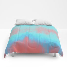 Blue Painting on Living Coral Comforters