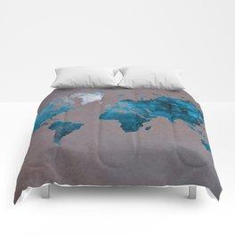 world map 104 blue #worldmap #map Comforters