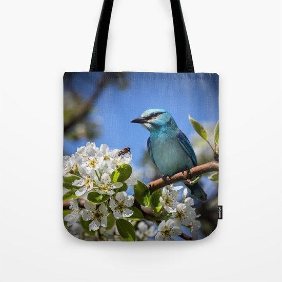Blue Bird on Cherry Tree Branch Tote Bag
