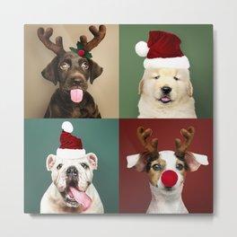 Set Of Doggy Christmas Portraits Metal Print