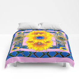 PINK-BLUE PEACOCK SUNFLOWERS DECO JEWELED Comforters