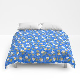 Painterly cotton flowers // in cobalt blue Comforters