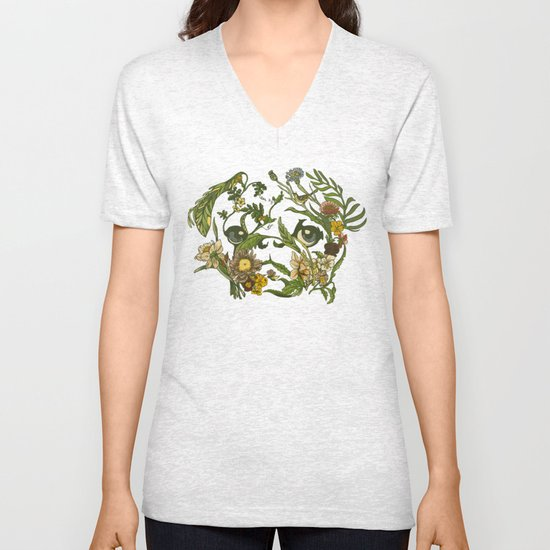 Botanical Pug Unisex V-Neck
