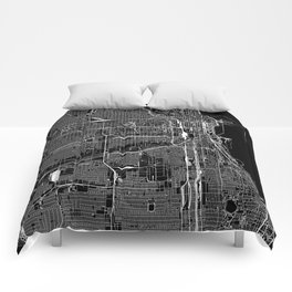 Chicago Black Map Comforters