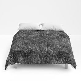 Radial Fur Texture  - Grayscale Comforters