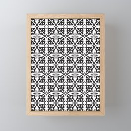 Ethnic tile pattern black Framed Mini Art Print