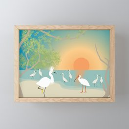 Egrets on a Sunset Beach Framed Mini Art Print