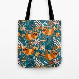Happy Boho Sloth Floral Tote Bag