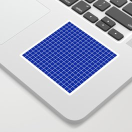 Indigo dye - blue color - White Lines Grid Pattern Sticker