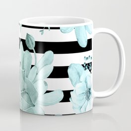 Succulents in the Garden Teal Blue Green Gradient with Black Stripes Coffee Mug
