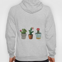 Three Cacti With Flowers On White Background Hoody