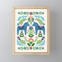 Swedsh Dala Horses Blue Framed Mini Art Print
