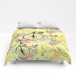 Bicycle with floral ornament Comforters