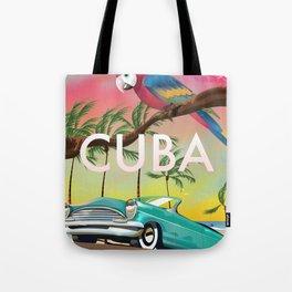 Cuba vintage travel poster print Tote Bag