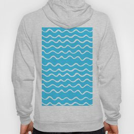 Simple aqua and white handrawn waves - for your summer Hoody