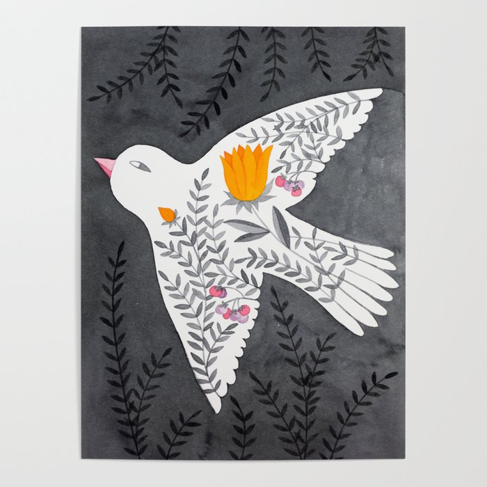 floral bird on grey illustration Poster