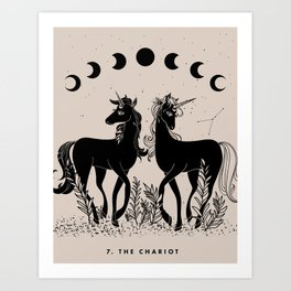 7. The Chariot (Unicorns) Art Print