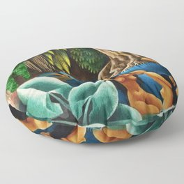 Bathing in the River by Miguel Covarrubias Floor Pillow