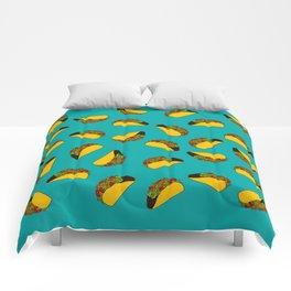 Flock of Gerrys Teal Taco Print Comforters