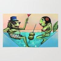 martini Area & Throw Rugs featuring Frog Martini by Dino Turull