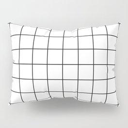Grid Pattern Stripes Lines Black and White Minimalist Geometric Stripe Line Pillow Sham