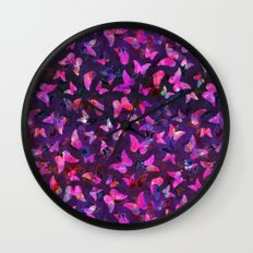 Butterfly Forest Purple Wall Clock