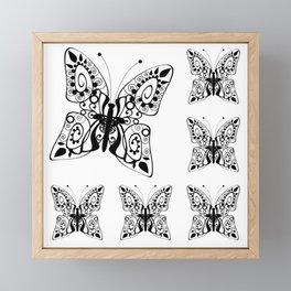 Butterfly black fishnet on a white background Framed Mini Art Print