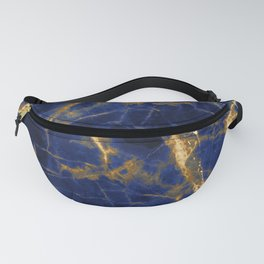 Blue Majestic Marble With 24-Karat Gold Hue Veins Fanny Pack