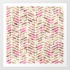 Pink Vintage Floral Girly Chevron Zig Zag Pattern Art Print