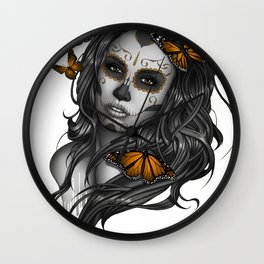 Sugar Skull Tattoo Girl with Butterflies Wall Clock