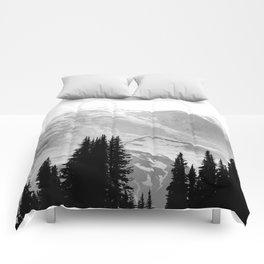 Mount Rainier Black and White Comforters