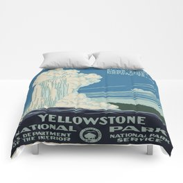 Vintage poster - Yellowstone Comforters