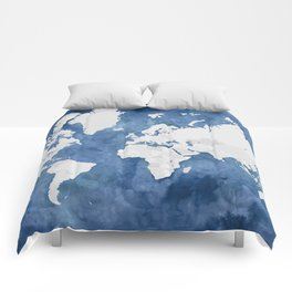 Navy blue watercolor and light grey world map with countries (outlined) Comforters