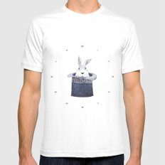 Mr. Rabbit and the Mad Hatter hat MEDIUM White Mens Fitted Tee