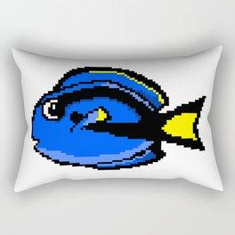 8-Bit Blue Tang Pixel Art Tropical Fish Rectangular Pillow