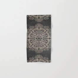Mandala White Gold on Dark Gray Hand & Bath Towel
