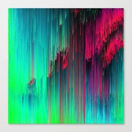 Just Chillin' - Abstract Neon Glitch Pixel Art Canvas Print