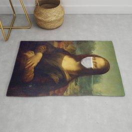 Mona Lisa with Respirator Mask Rug