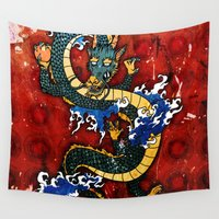 dragon Wall Tapestries featuring Dragon by Spooky Dooky