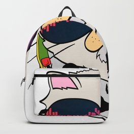 """Unique Cat Music Tee For Musicians """"Cat Headphones"""" T-shirt Design Notes Musical House Home Gradient Backpack"""